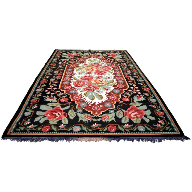 Vintage Balkan Bessarabian hand woven kilim with natural colors and fine weave.