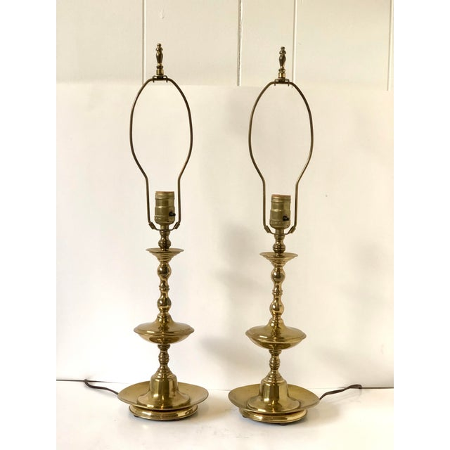 Brass Vintage Georgian Brass Candlestick Lamps - a Pair For Sale - Image 8 of 8