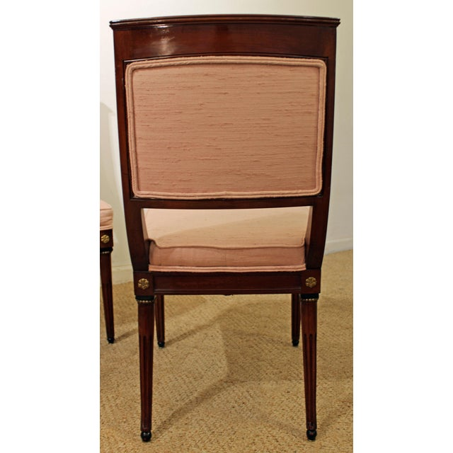 Set of 4 French Regency Mahogany Ormolu Carved Dining Chairs For Sale - Image 5 of 11
