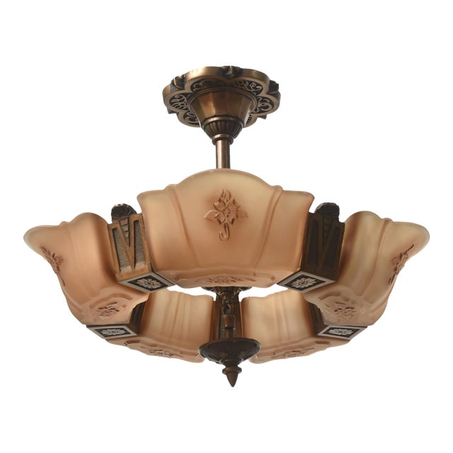 Pair of markel art deco bronze ceiling fixtures