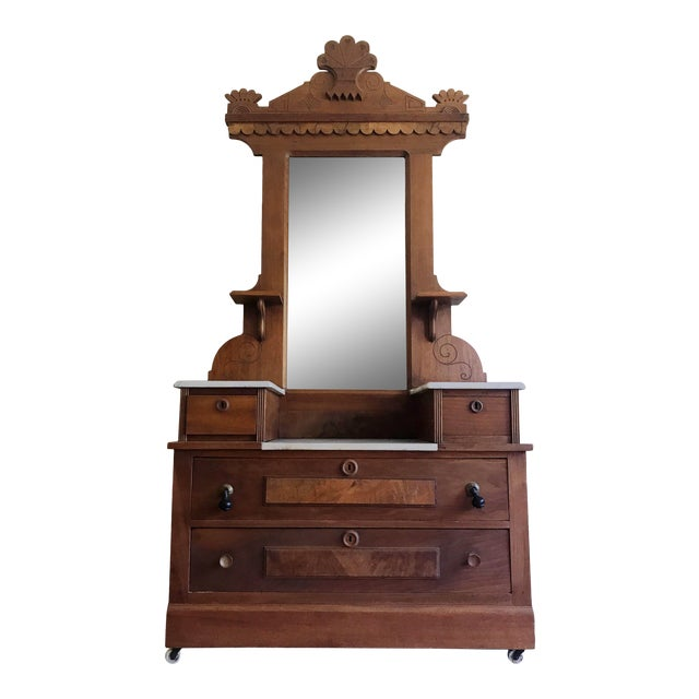 Antique Swedish Craftsmen Marble Topped Hall Tree or Vanity For Sale