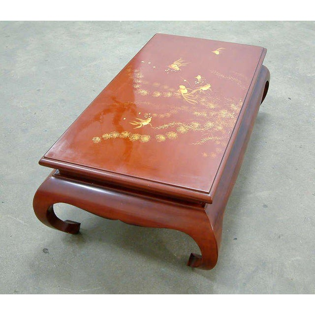 1972 Viet Nam Thanhle Cinnabar Lacquered Wood Goldfish Coffee Table For Sale In Richmond - Image 6 of 12
