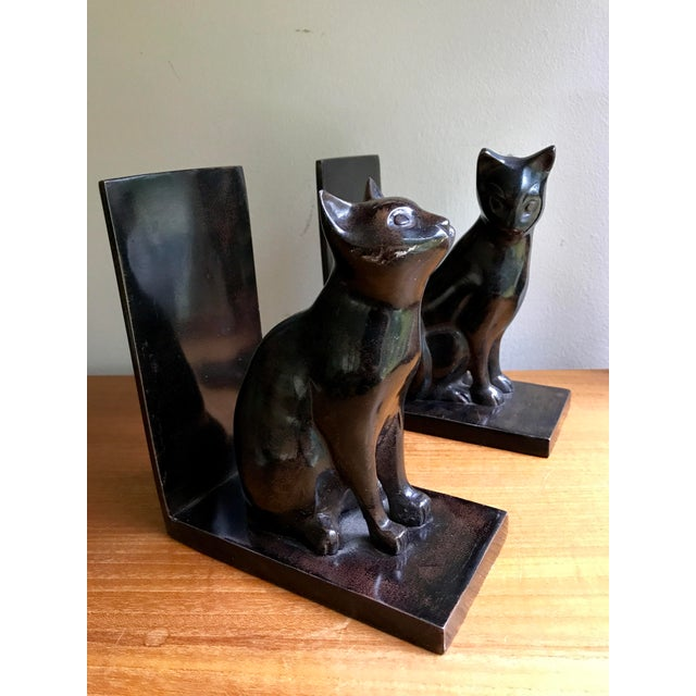 Boho Chic Vintage Book Ends Cats - Polished Stone, a Pair For Sale - Image 3 of 9