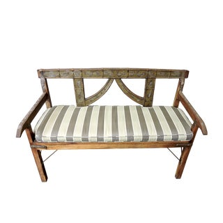 North Indian Metal Trimmed & Studded Peacock Wood Bench With Stripped Fabric Cushion For Sale