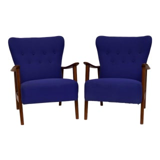 Pair of Frits Hansen Style Armchairs For Sale