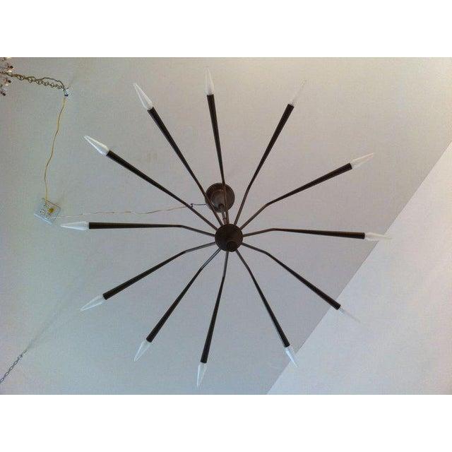 Brass 1960s Oscar Torlasco for Lumi Futurist Brass Sputnik Chandelier For Sale - Image 7 of 10