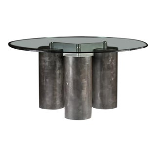 """Serenissimo"" Patinated Steel Dining Table by Massimo and Lella Vignelli For Sale"