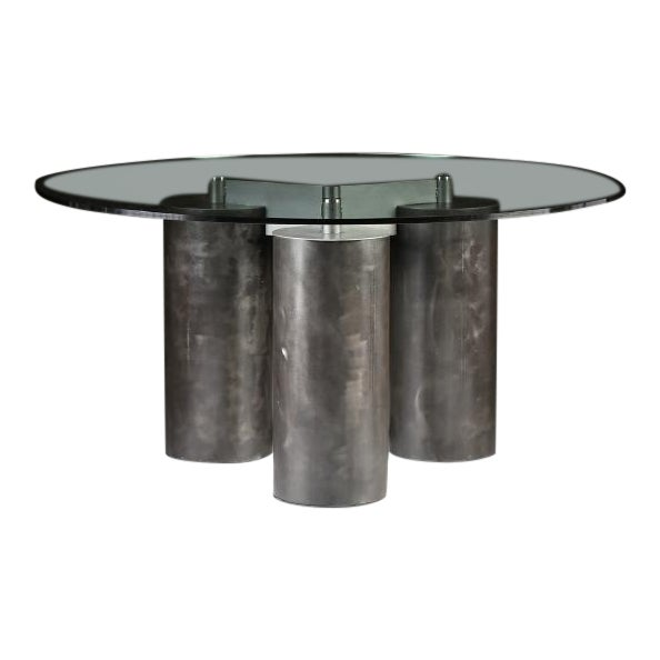 """""""Serenissimo"""" Patinated Steel Dining Table by Massimo and Lella Vignelli For Sale"""
