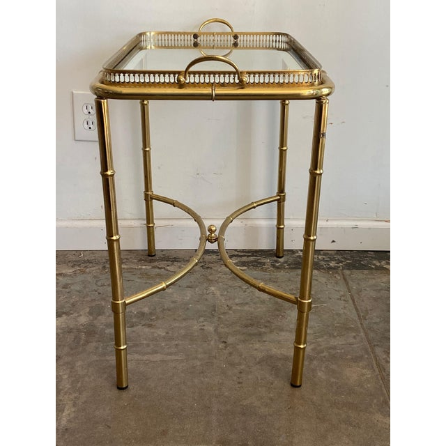 Mid-Century Modern Vintage Brass Mirror Framed Glass Side Table For Sale - Image 3 of 10