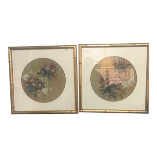 Vintage Framed Chinoiserie Bird Prints - a Pair For Sale
