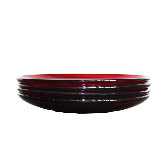 French Arcoroc Ruby Red Saucers - Set of 4 For Sale - Image 3 of 4