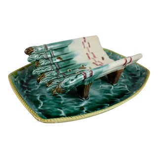 English Majolica Ocean Themed Asparagus Server For Sale