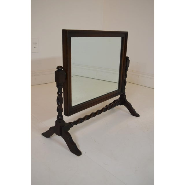 vintage barley twist english table mirror on stand chairish. Black Bedroom Furniture Sets. Home Design Ideas