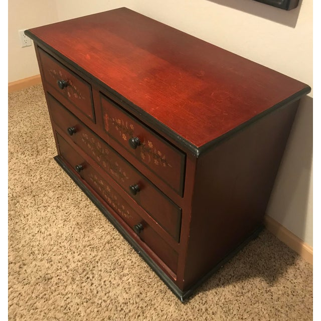 Late 20th Century 20th Century Black Forest Hand Painted 4-Drawer Dresser For Sale - Image 5 of 7