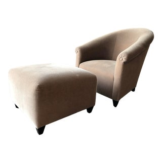 Minotti Mohair Lounge Chair and Ottoman For Sale