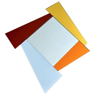 2007 Ettore Sottsass Geometric Mirror in White, Red, Orange, Yellow for Glas Italia For Sale
