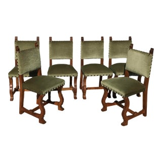 Early 20th Century French Louis XIII Os De Mouton Green Mohair and Wood Dining Chairs - Set of 6 For Sale