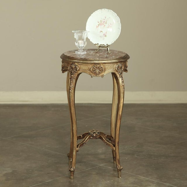 Rococo 19th Century French Giltwood Marble-Top Lamp Table For Sale - Image 3 of 11