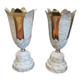 Vintage Mid Century Modern Art Deco Style Torchiere Flower Lamps, C 1950 - a Pair For Sale