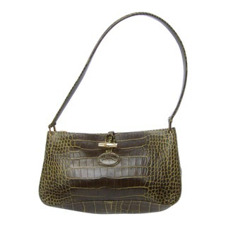 Long Champ Embossed Brownish Green Leather Handbag For Sale