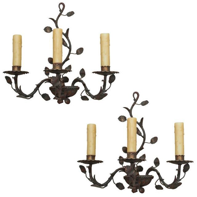 Pair of Antique Italian Iron Wall Sconces - Image 6 of 6