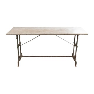 19th Century French Marble-Top and Iron Bistro Table For Sale