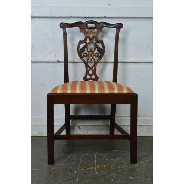 Yellow Baker Historic Charleston Collection Chippendale Style Mahogany Side Chair For Sale - Image 8 of 13