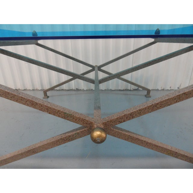 1970s 1970s Contemporary Steel and Blue Perspex Coffee Table For Sale - Image 5 of 10