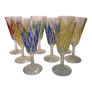 Wine Glasses Circa 1940's Purchased in France For Sale