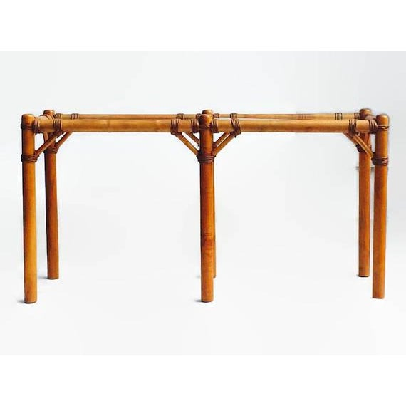 "Vintage Safari Campaign Sofa Table Console Table Smokey Glass - 50"" - Image 2 of 11"