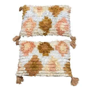 Boho Chic Blush Shag Lumbar Pillows - Set of 2 For Sale