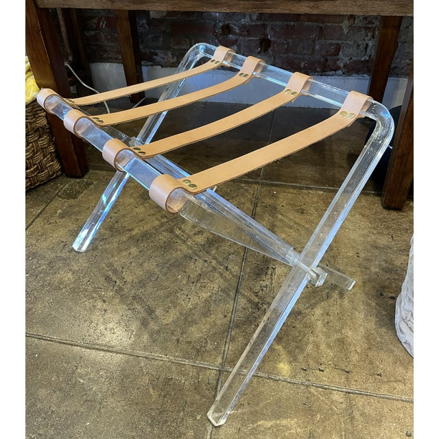 Lucite & Leather Folding Luggage Table For Sale - Image 9 of 9