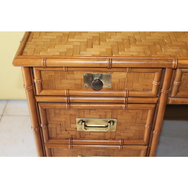 1960s Vintage Bamboo Campaign Style Writing Desk For Sale - Image 10 of 13