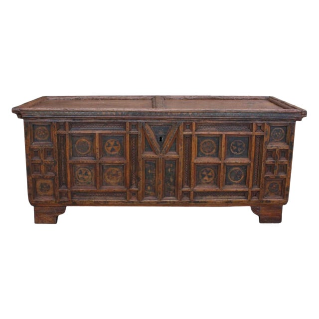 A Rustic Swiss Baroque Coffer or Dowry Chest For Sale