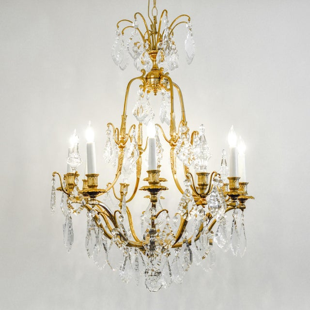French 1920s Antique French Cut Crystal Eight Arm Chandelier For Sale - Image 3 of 11