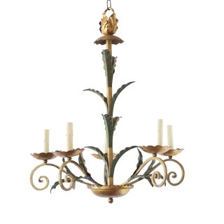 Leafy Gold & Green Iron Chandelier For Sale