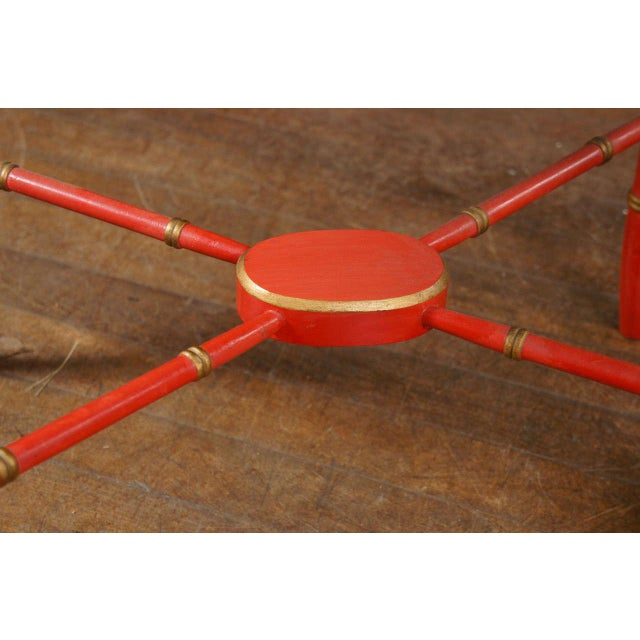 1970s 1970s Mid-Century Modern Scarlet & Gilt English Wooden Tray Coffee Table For Sale - Image 5 of 7