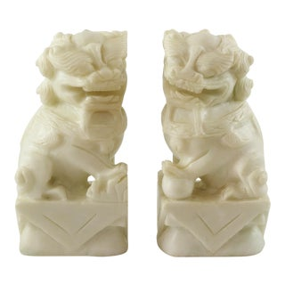 Carved Stone Foo Dog Bookends - a Pair For Sale