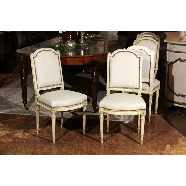 Set of Eight French Louis XVI Style Painted Dining Chairs with New Upholstery For Sale - Image 10 of 13