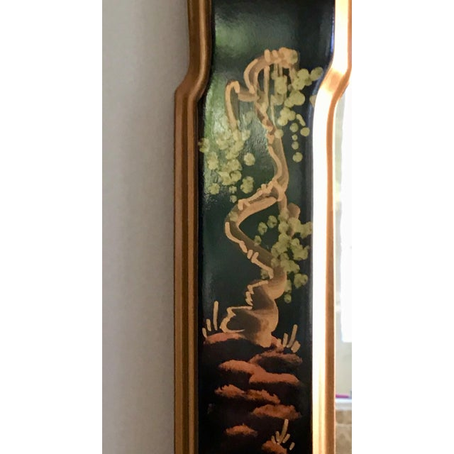 Asian 1980s La Barge Style Queen Anne Hand Painted Black Lacquer Mirror For Sale - Image 3 of 7