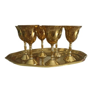 Brass Shot Glass and Tray - Set of 7