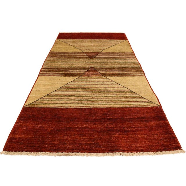 Shabby Chic Gabbeh Peshawar Karol Tan/Red Hand-Knotted Wool Rug -2'11 X 5'1 For Sale - Image 4 of 8