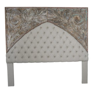19th Century Italian Painted and Linen King Size Headboard For Sale