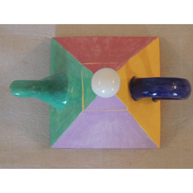 Colorful Bauhaus Style Ceramic Teapot - Image 3 of 4