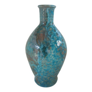Vintage Iridescent Blue Art Pottery Vase For Sale