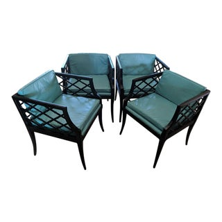 1960s Vintage Faux Bamboo Chinoiserie Chairs- Set of 4 For Sale