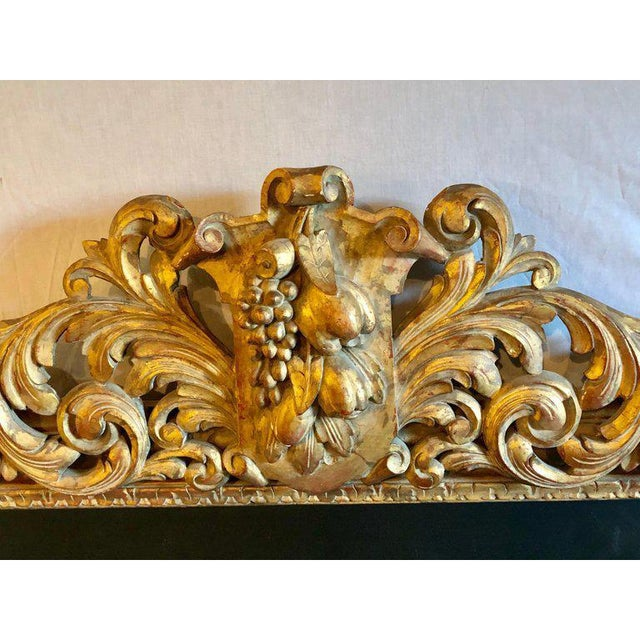 1940s Large Carved Rococo Wall / Console Mirror W. Grape and Scroll Design For Sale - Image 5 of 12