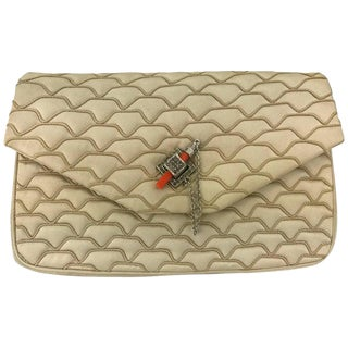 Judith Leiber Quilted Champagne Silk Bag With Faux Coral Clasp, 1980's For Sale