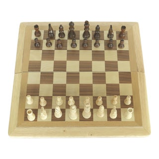 Vintage Folding Boxed Wooden Chess & Checkers Game by Cardinal For Sale