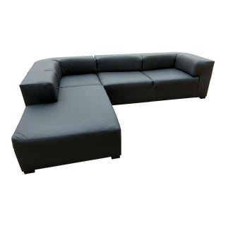 Gambrell Renard Shadow Black Leather Sectional